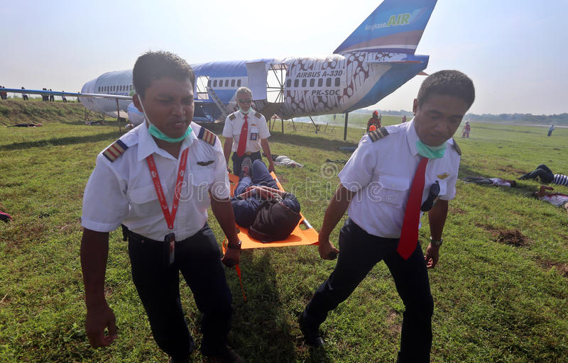 Accident d'avions manipulant la simulation photographie stock