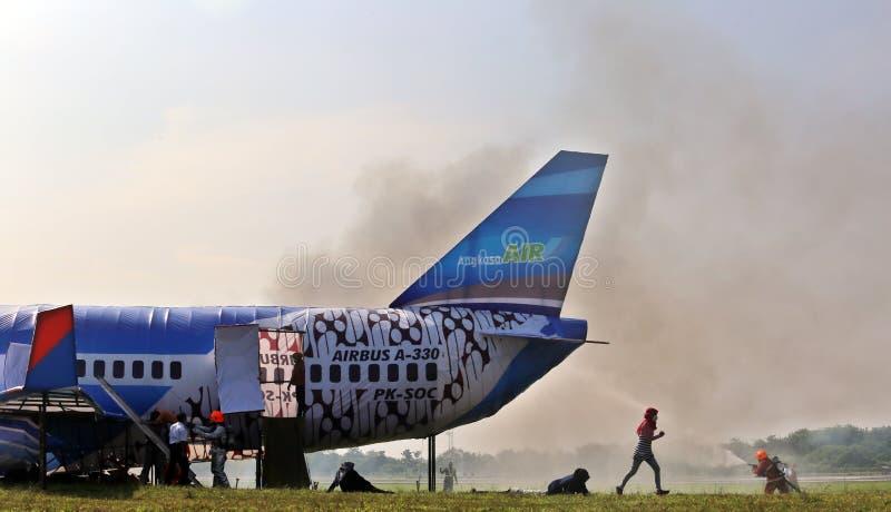 Accident d'avions manipulant la simulation images stock