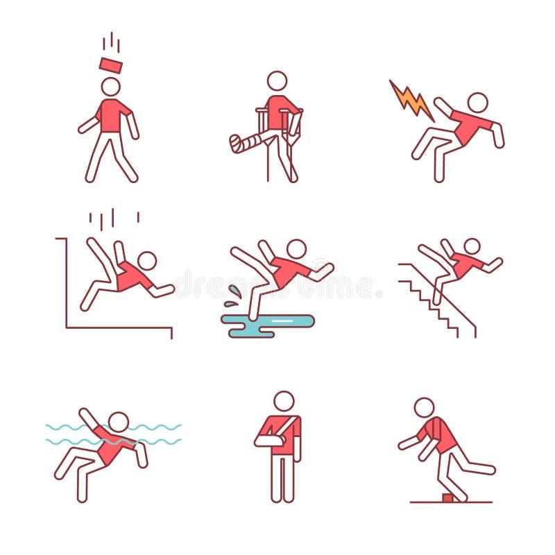 Accident d'homme et ensemble de signe de sécurité de traumatismes illustration de vecteur