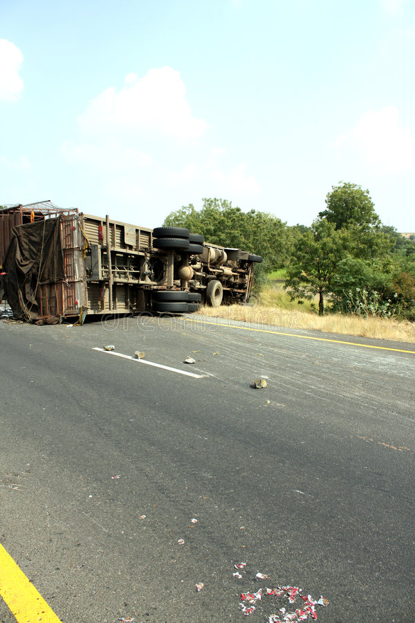 Accident d'un camion images libres de droits