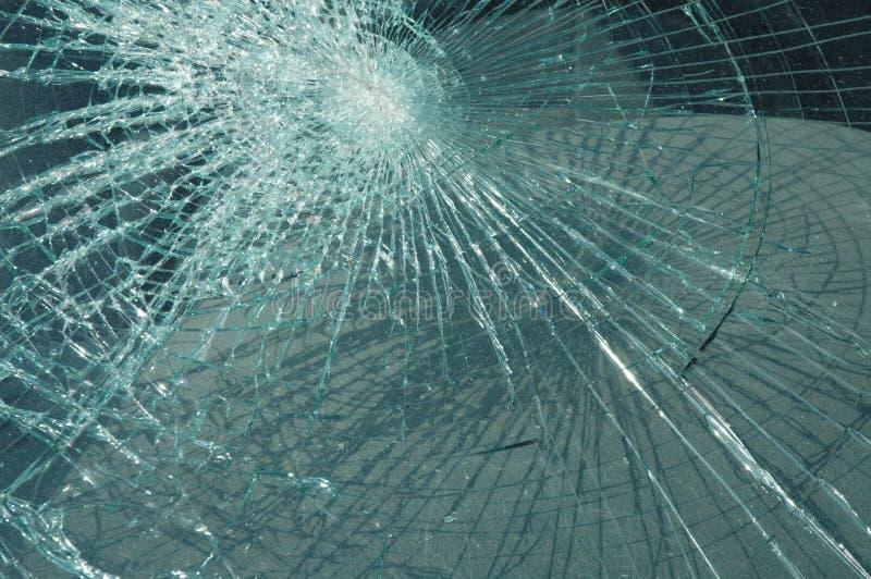 Accident damaged car windshield stock photo