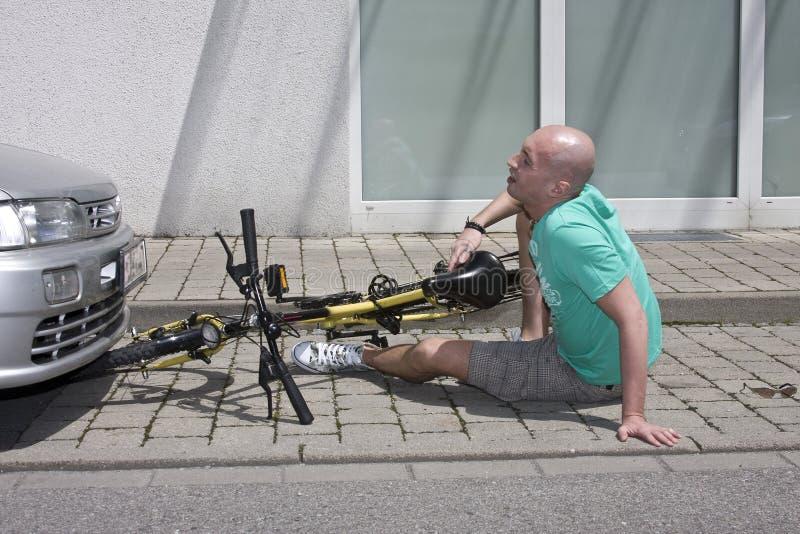 Accident de bicyclette images stock