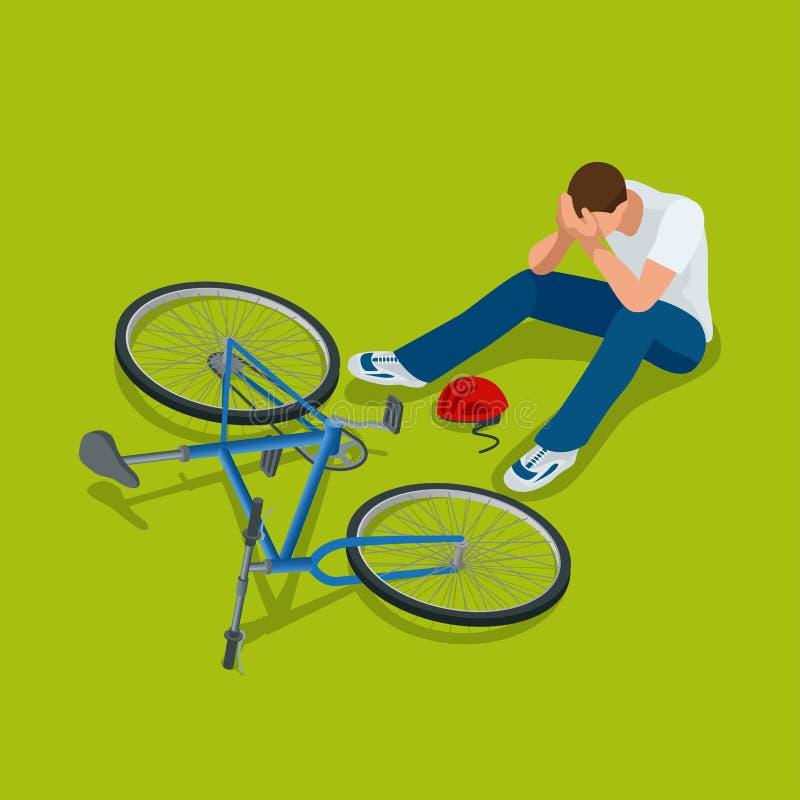 Accident de bicyclette L'homme tombe sa bicyclette Illustration isométrique du vecteur 3d plat illustration stock