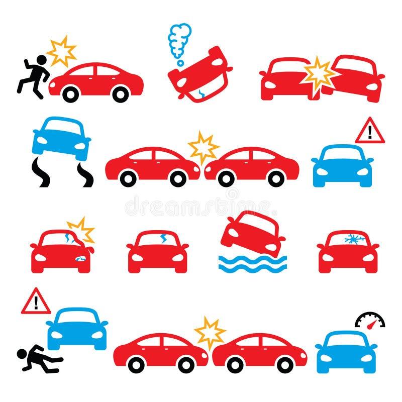 Accident de la route, accident de voiture, icônes de dommage corporel réglées illustration libre de droits