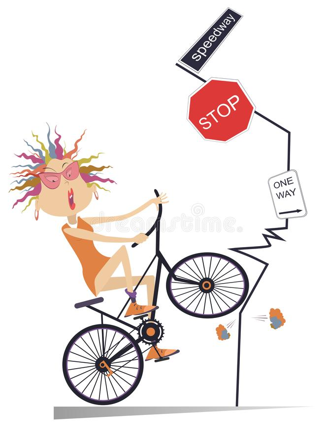 Accident de la route et jeune femme sur l'illustration de bicyclette illustration stock