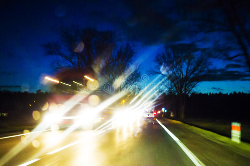 Accident de nuit photographie stock