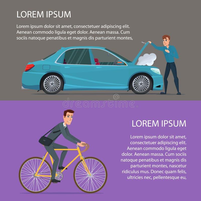 Accident de voiture, achetant un vélo Illustration de vecteur d'affiche de bande dessinée illustration stock