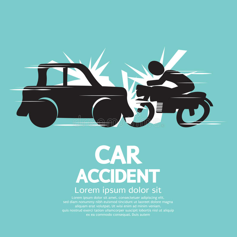 Accident de voiture avec la moto. illustration de vecteur