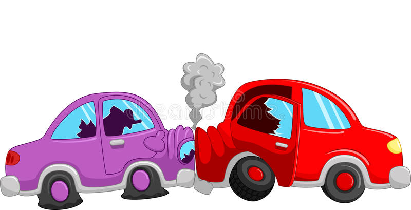 Accident de voiture de bande dessinée illustration stock