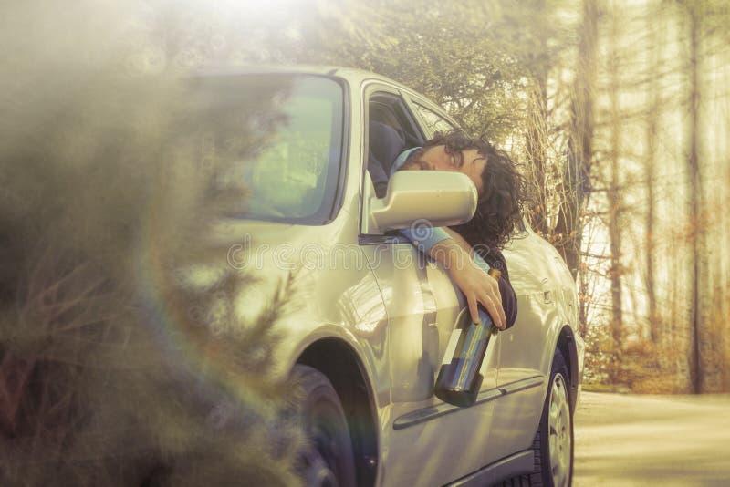 Accident de voiture de conduite en état d'ivresse photo stock