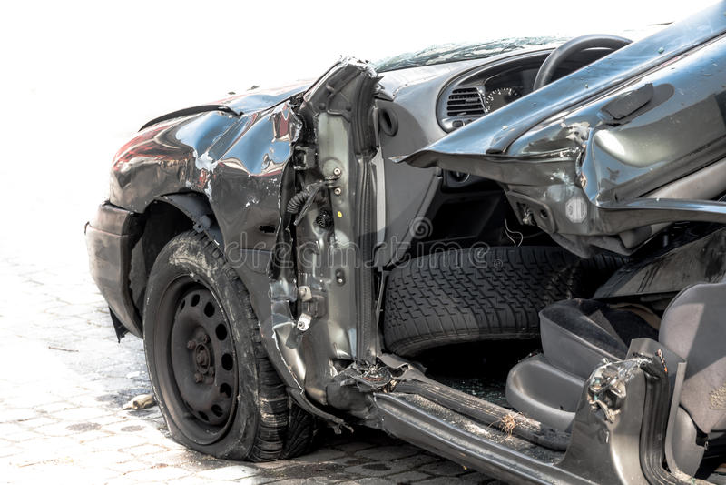 Accident de voiture - fermez-vous vers le haut de la vue images libres de droits