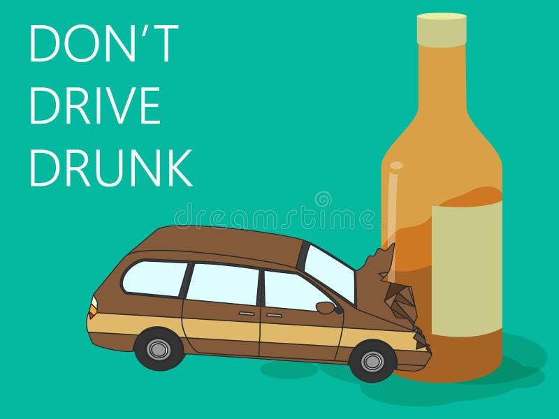 accident de voiture ivre de conducteur avec la bouteille d 39 alcool illustration de vecteur. Black Bedroom Furniture Sets. Home Design Ideas