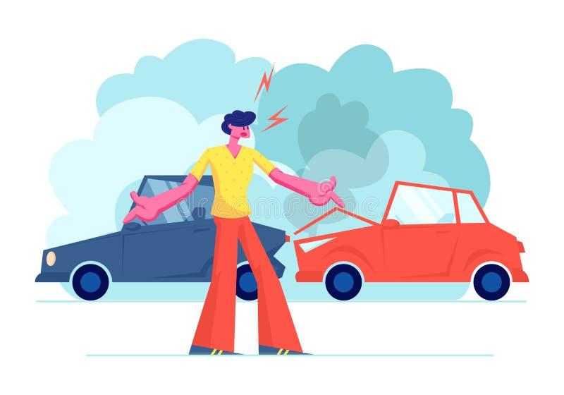 Accident de voiture sur la route, conducteur fâché Male Character Arguing se tenant sur le bord de la route avec les automobiles  illustration de vecteur
