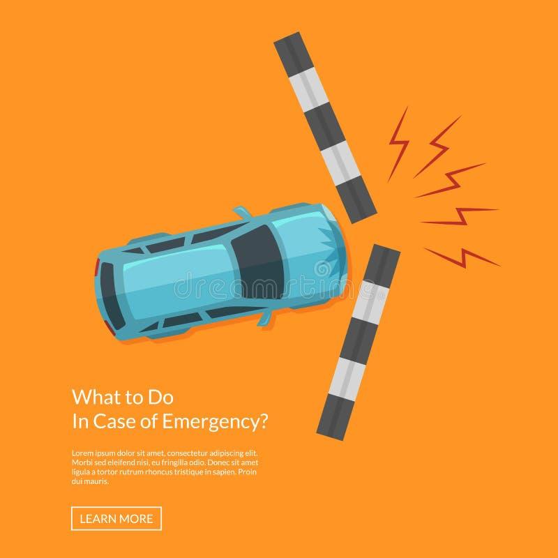 Accident de voiture de vecteur avec l'illustration de vue supérieure de sentier piéton illustration libre de droits