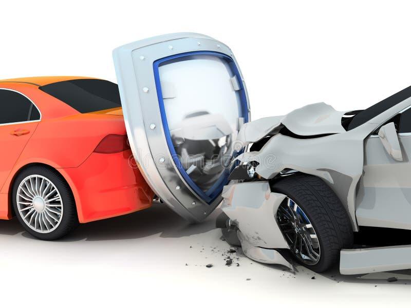 Accident et bouclier de voiture illustration de vecteur