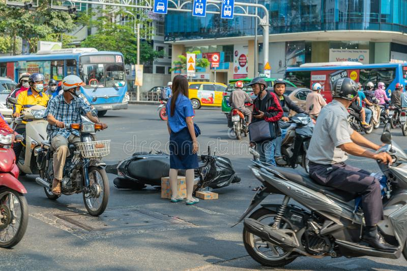 Accident happened. Bus crashes scooter in Ho Chi Minh City, Vietnam stock photography