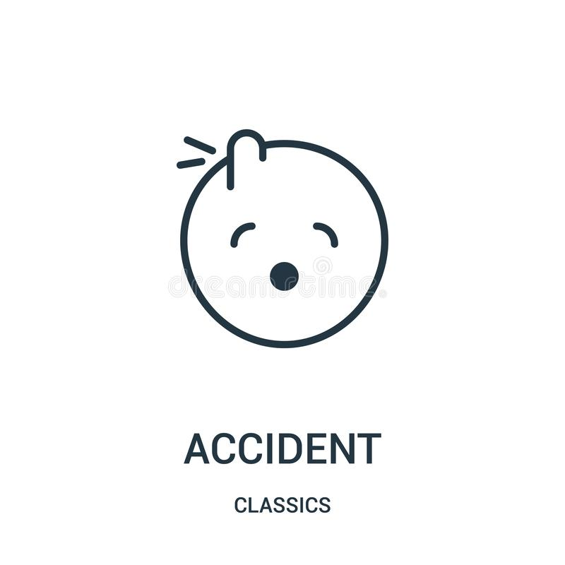 accident icon vector from classics collection. Thin line accident outline icon vector illustration. Linear symbol royalty free illustration