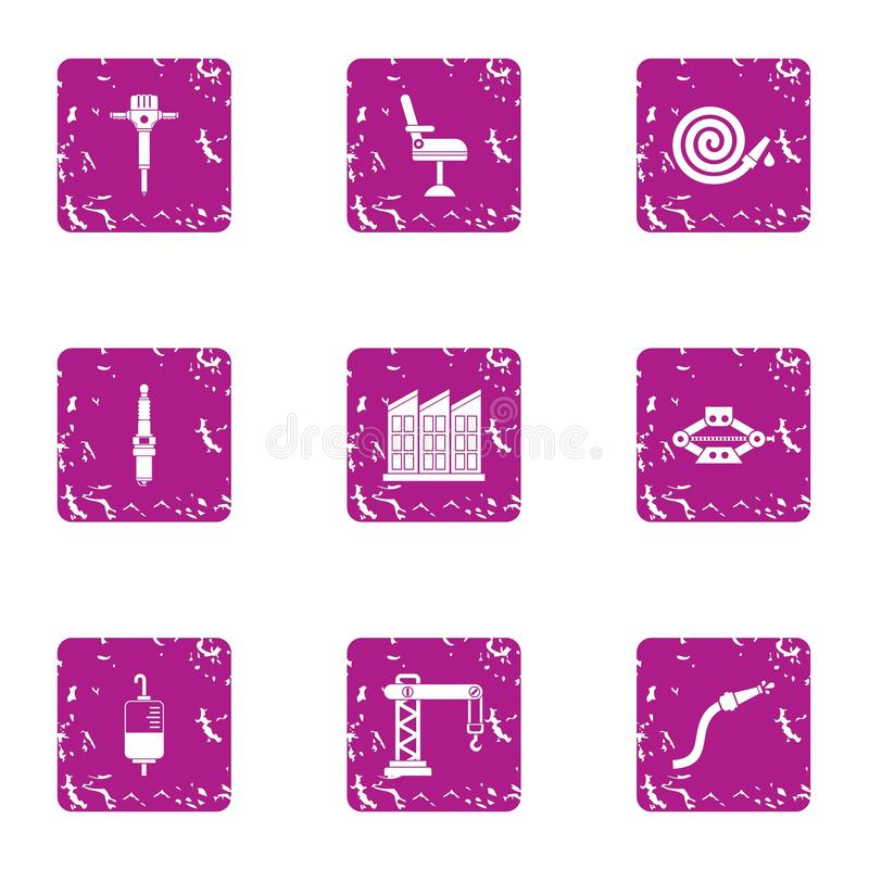 Accident icons set, grunge style. Accident icons set. Grunge set of 9 accident vector icons for web isolated on white background vector illustration