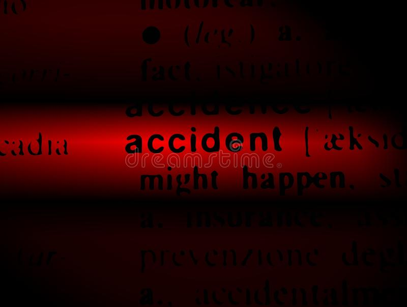 Word Accident on a red and black background stock photography