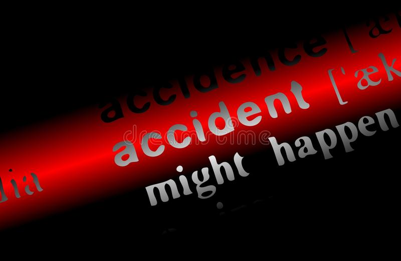 Word Accident on a red and black background royalty free stock photography