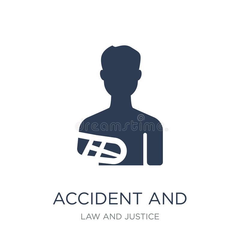 accident and injuries icon. Trendy flat vector accident and injuries icon on white background from law and justice collection stock illustration