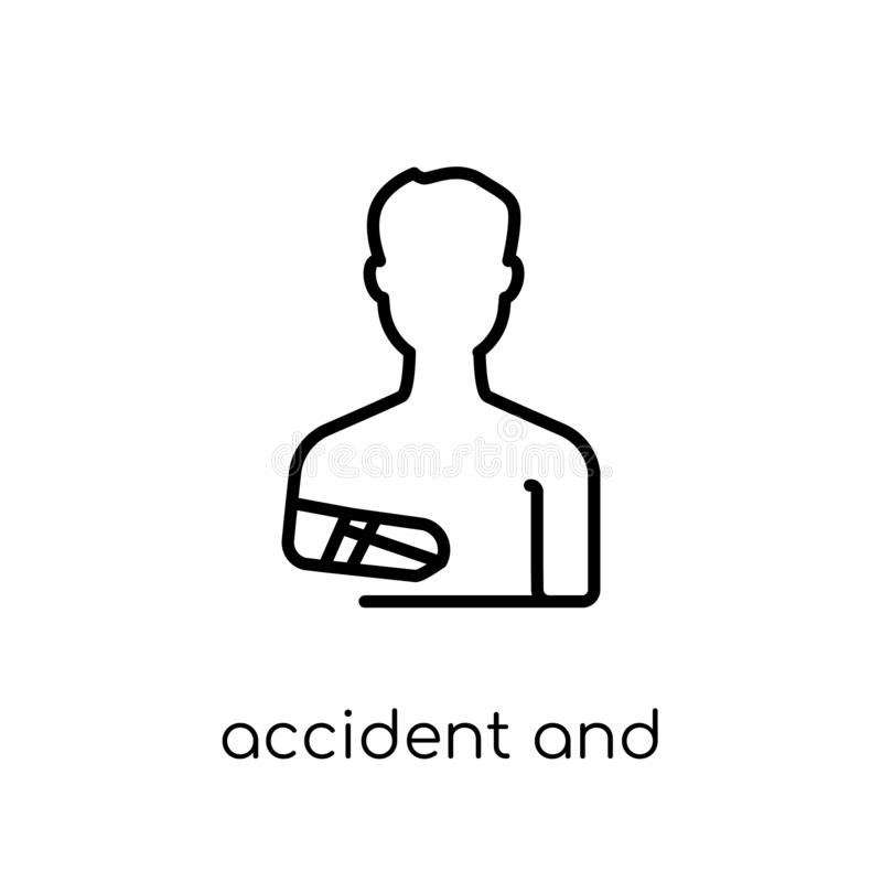 accident and injuries icon. Trendy modern flat linear vector accident and injuries icon on white background from thin line law royalty free illustration