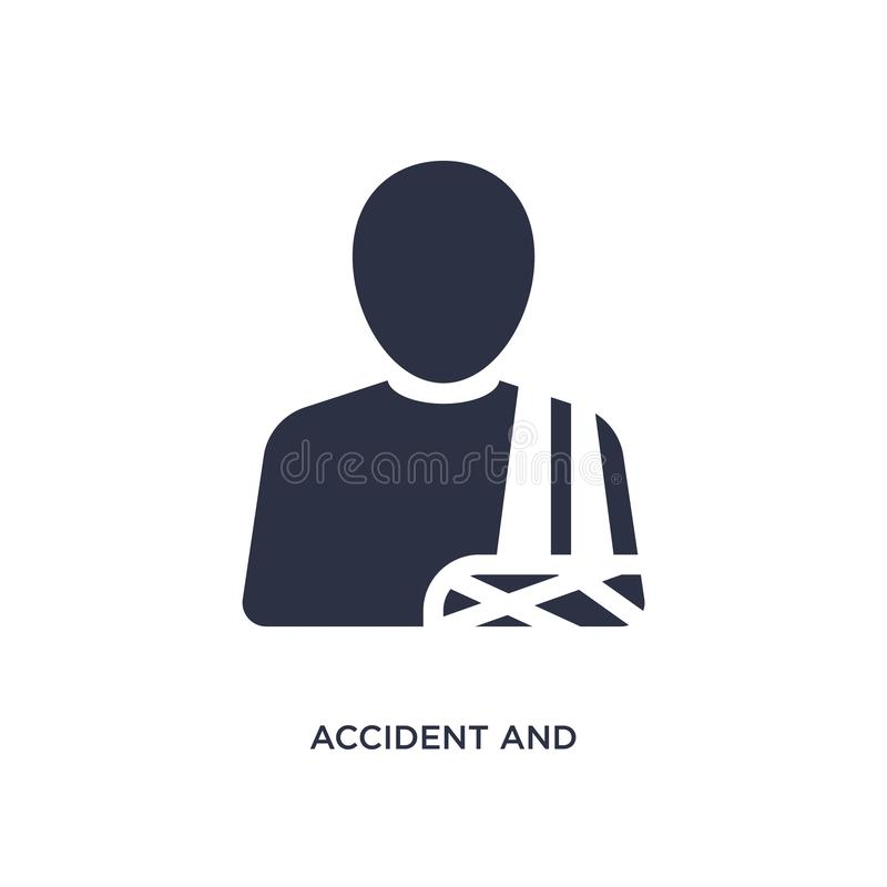 accident and injuries icon on white background. Simple element illustration from law and justice concept stock illustration