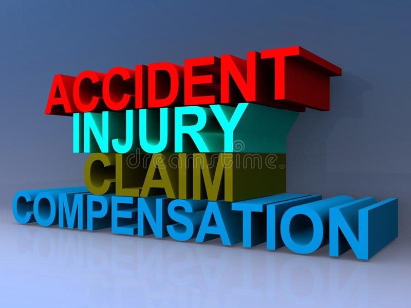 Accident injury claim compensation. 3D block lettering spelling accident injury claim compensation on purple background stock photography