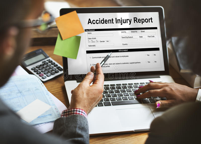 Accident Injury Report Form Information Concept royalty free stock image