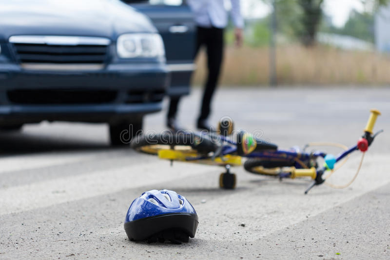 Accident on pedestrian crossing. Horizontal view of accident on pedestrian crossing royalty free stock image