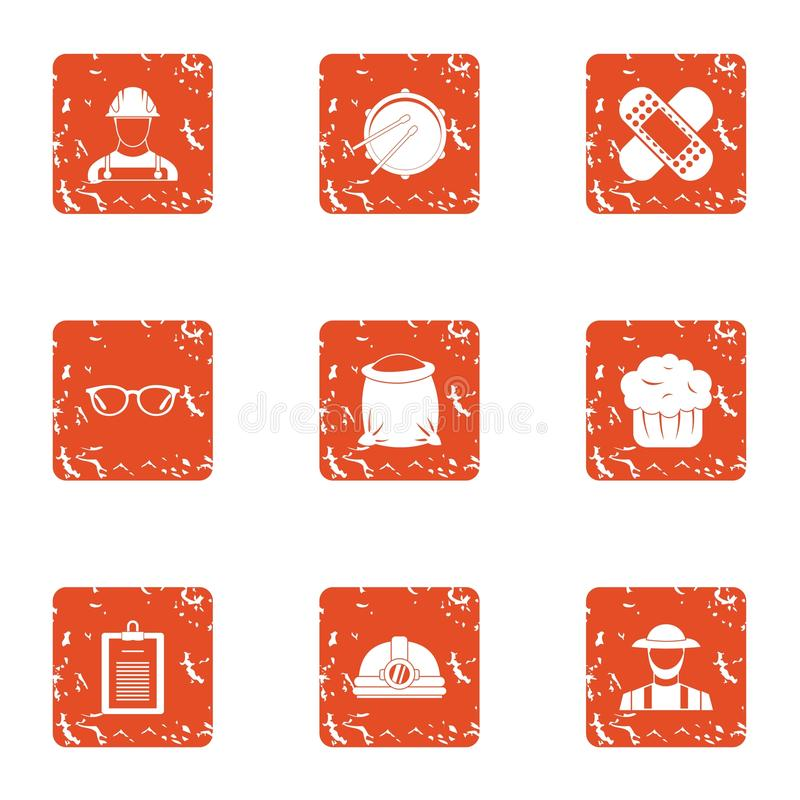 Accident prevention icons set, grunge style. Accident prevention icons set. Grunge set of 9 accident prevention vector icons for web isolated on white background stock illustration