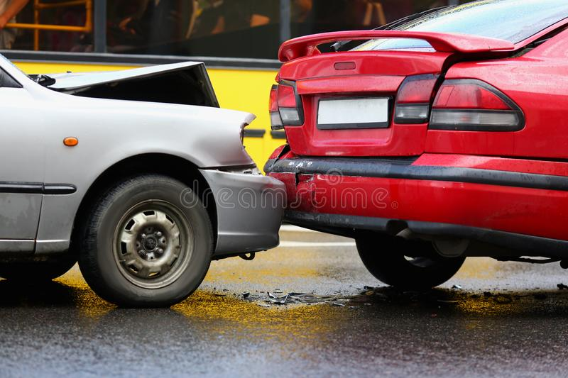 Accident of red and silver car after royalty free stock photography
