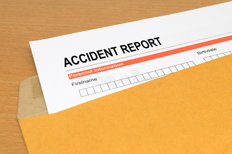 Accident report form stock image