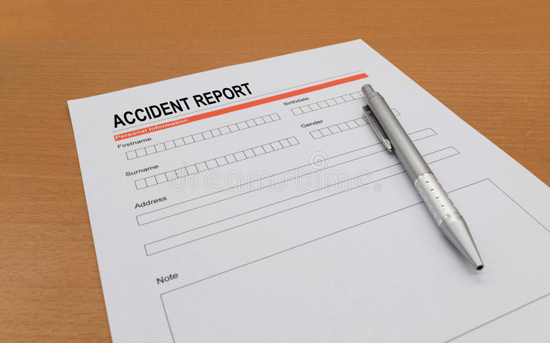 Accident report form stock photos