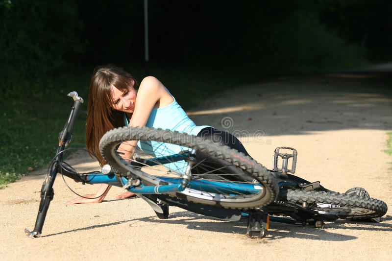 Download Accident On The Road With Biker Stock Image - Image of stunned, crash: 10179433