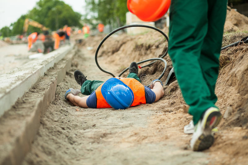 Accident on a road construction royalty free stock photography