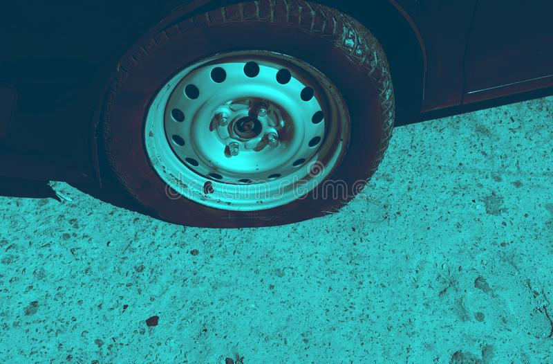 Accident on the road with damage to the car. knocked wheel. royalty free stock images