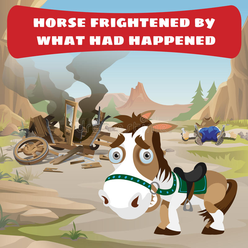 Accident on the road and frightened horse vector illustration