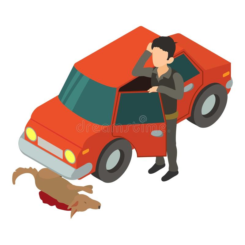Accident scene icon, isometric 3d style royalty free illustration