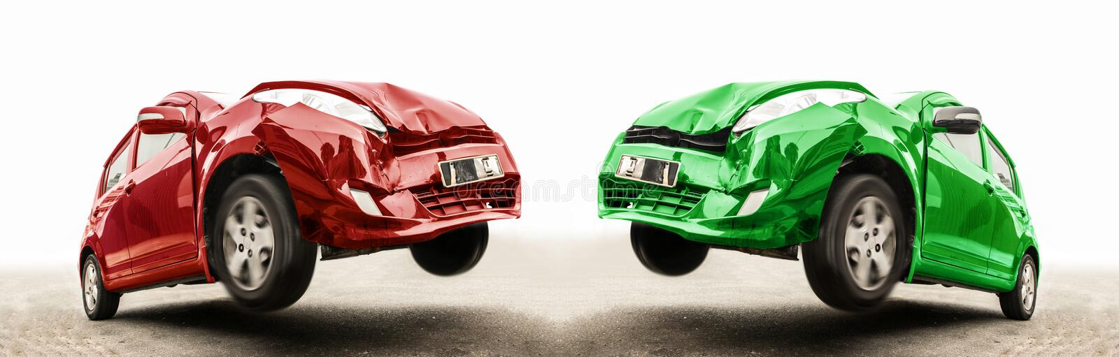 Accident of two cars at a front crash on the road. royalty free stock image