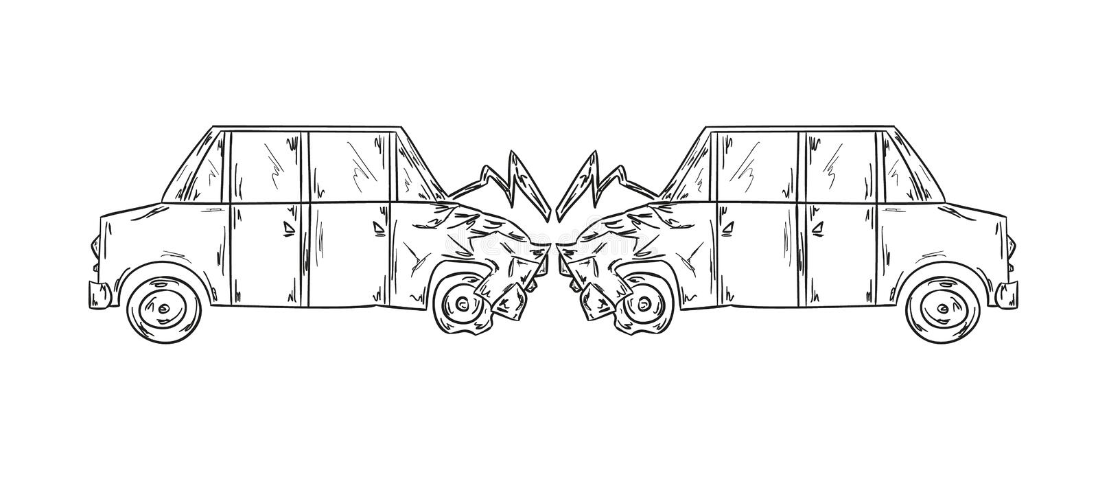 Accident Of Two Cars Sketch Stock Vector - Illustration of ...