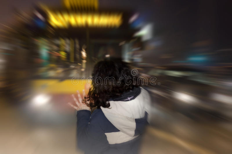accident walking on the road royalty free stock image