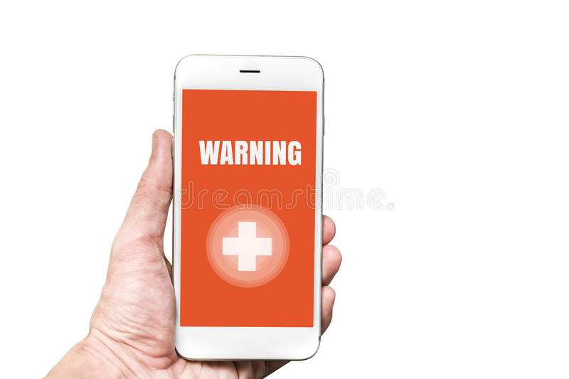 Accidental Emergency WARNING word on mobile screen in man hand. stock photos
