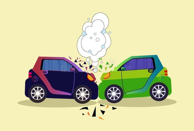 Accidente aislado escena estrellado de los coches en concepto del camino stock de ilustración