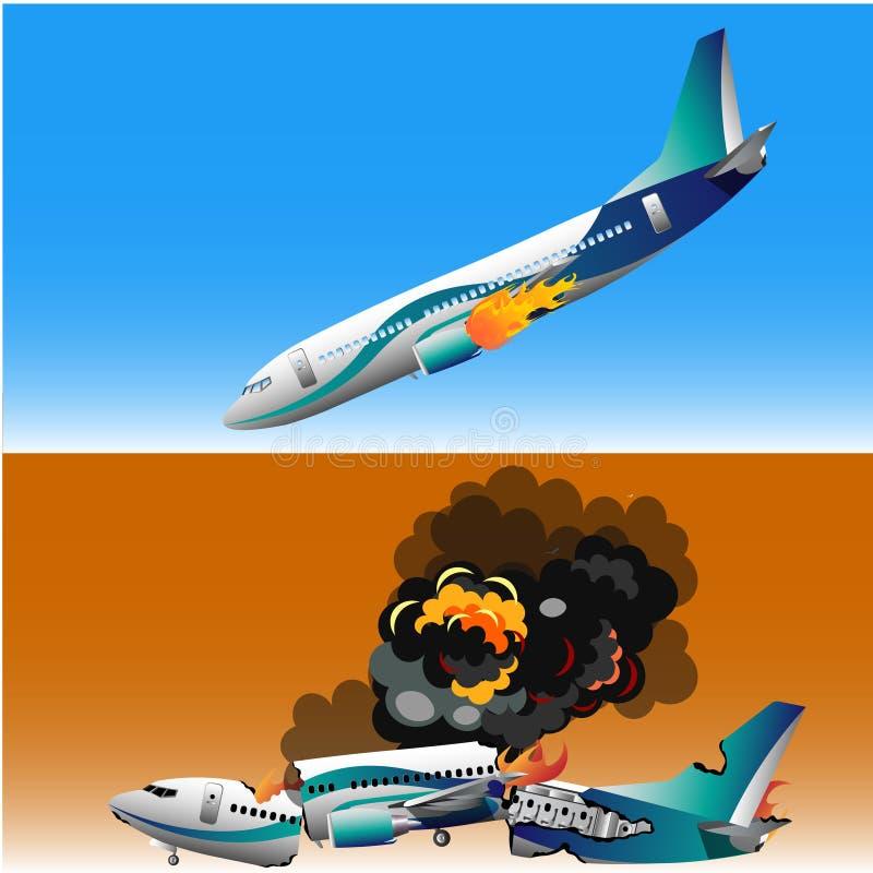 Accidente de avión con el fuego ilustración del vector