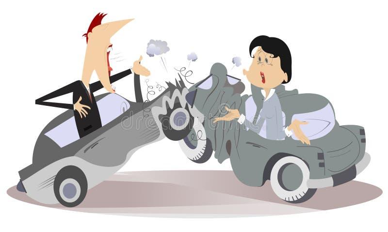 Accidente de carretera, hombre joven y mujer stock de ilustración