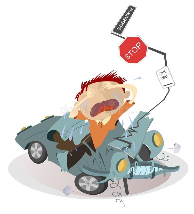 Accidente de carretera y hombre que solloza en el ejemplo estrellado del coche stock de ilustración