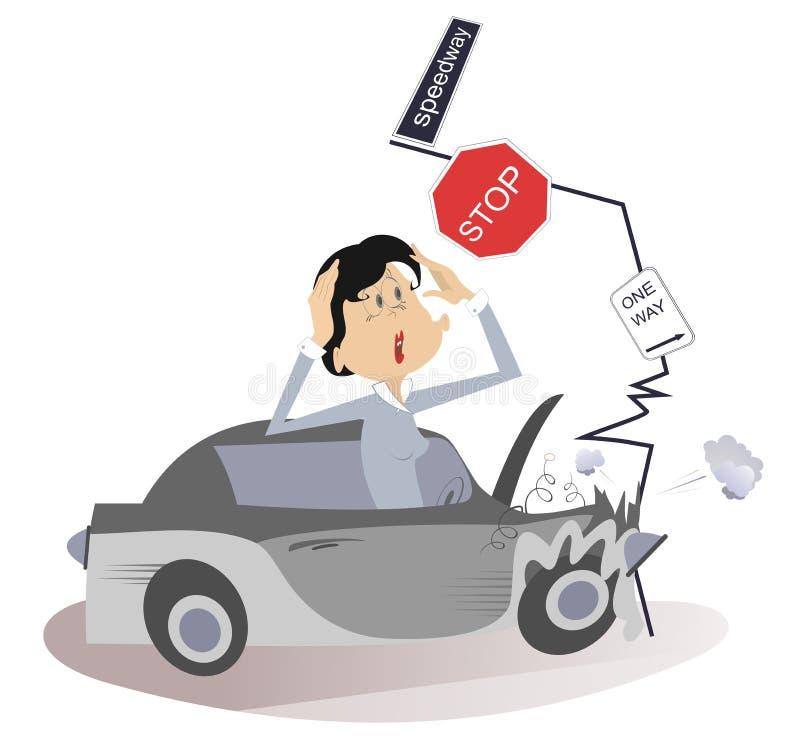 Accidente de carretera y mujer joven ilustración del vector