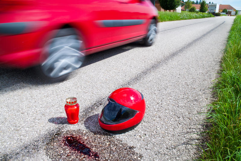 Accidente de la motocicleta. Accidente de tráfico imagen de archivo libre de regalías