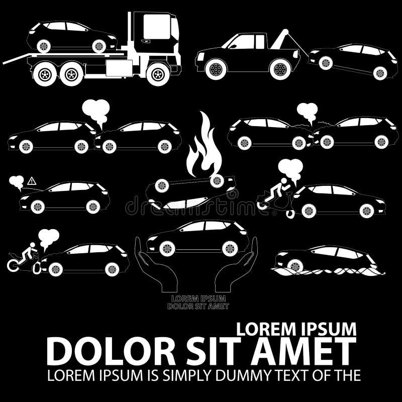 Accidente de tráfico blanco de los iconos libre illustration